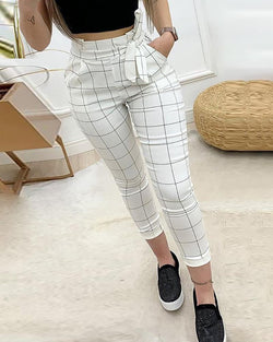 High Waist Grid Paperbag Waist Casual Pants