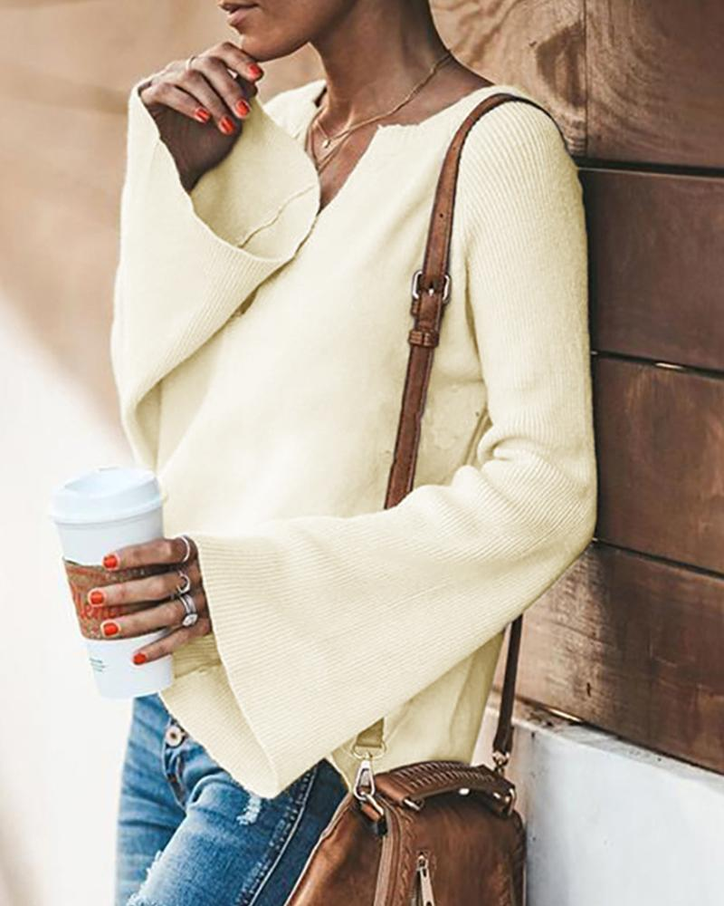 V-neck trumpet sleeve sweater