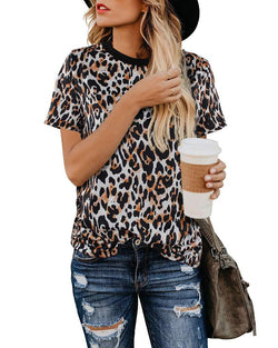Round Neck Short Sleeve Leopard T-shirt