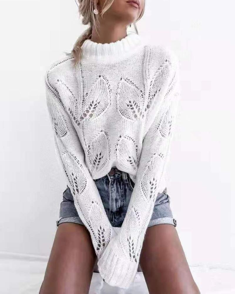 Solid Eyelet Hollow Out Sweater