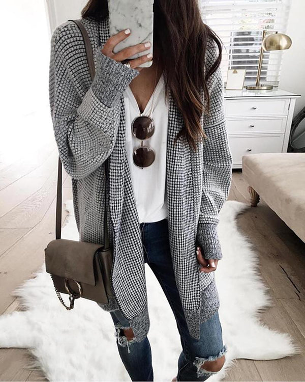Grid Long Sleeve Casual Longline Cardigan