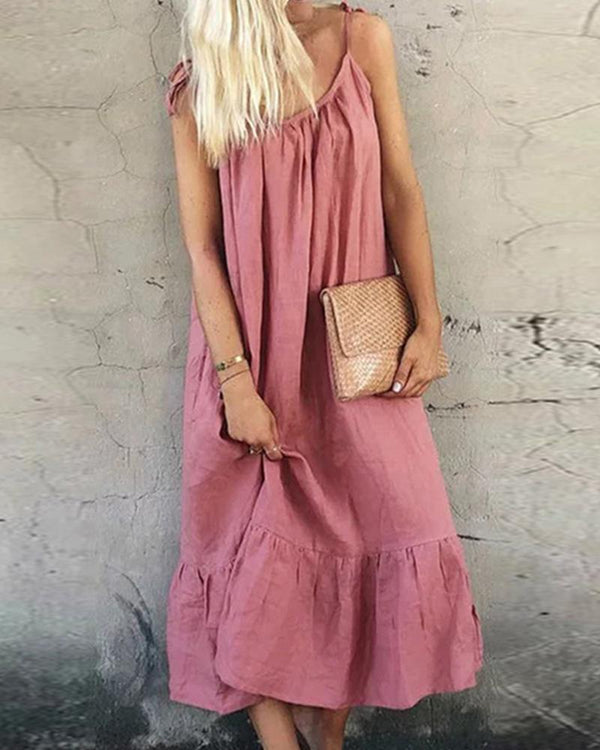 Solid Stitching Sleeveless Midi Dress