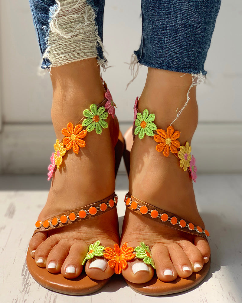 Flower Embellished Toe Ring Flat Sandals
