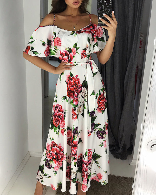 Floral Print Cold Shoulder Ruffles Dress