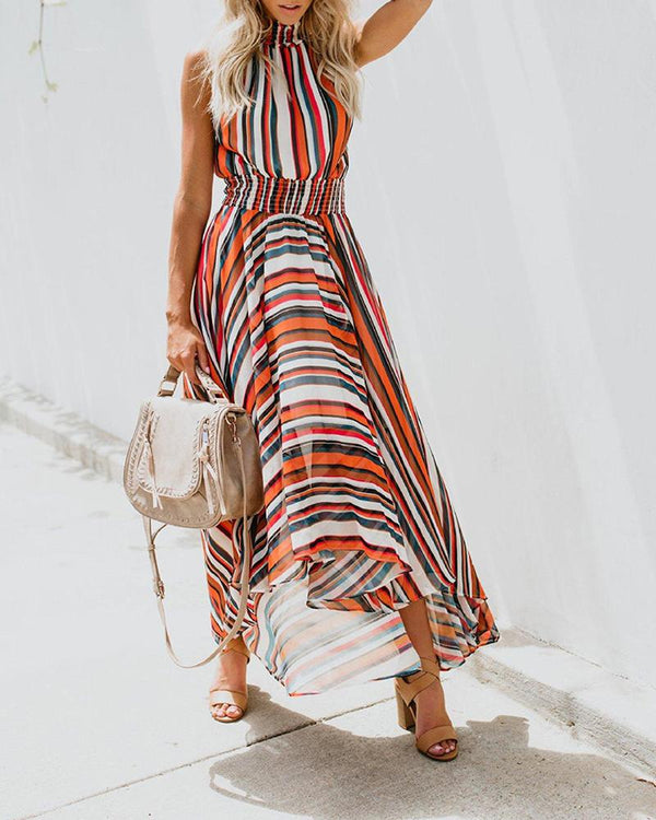 Sleeveless Rainbow Striped Print Dress Maxi Dress