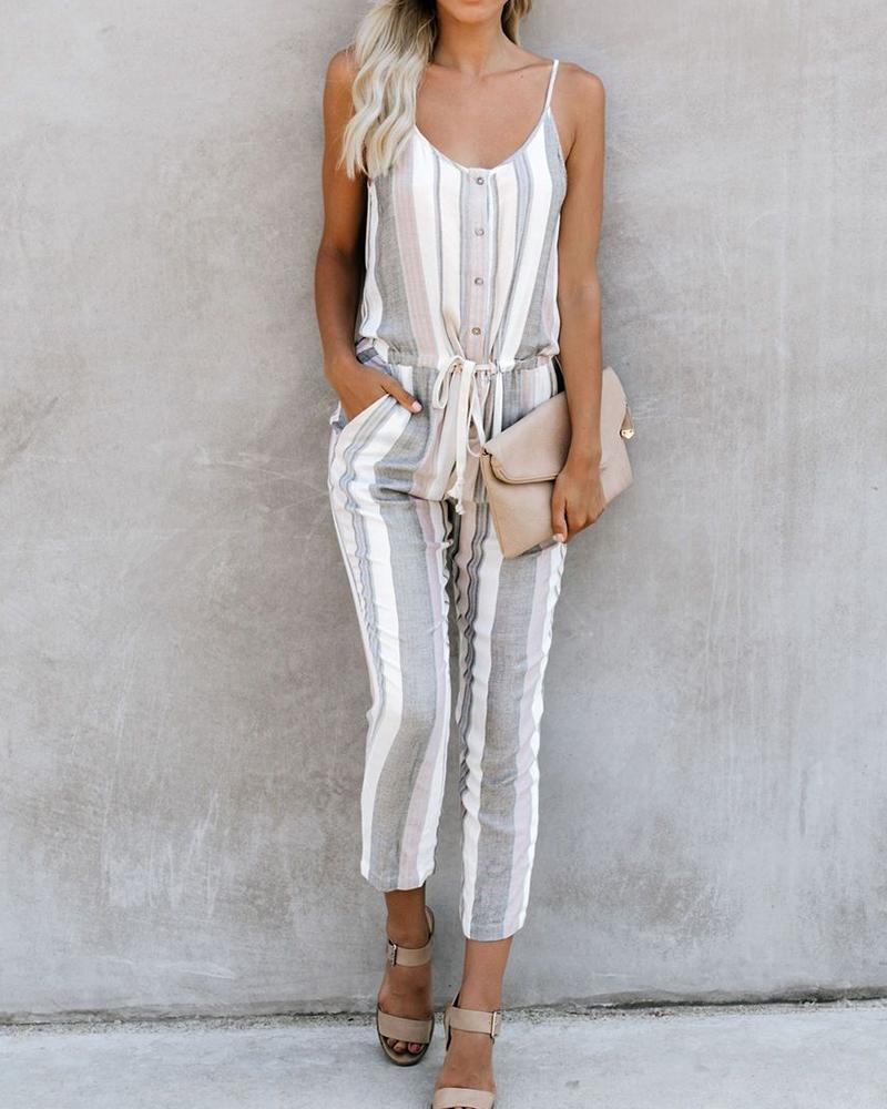 Cameron Pocketed Striped Jumpsuit