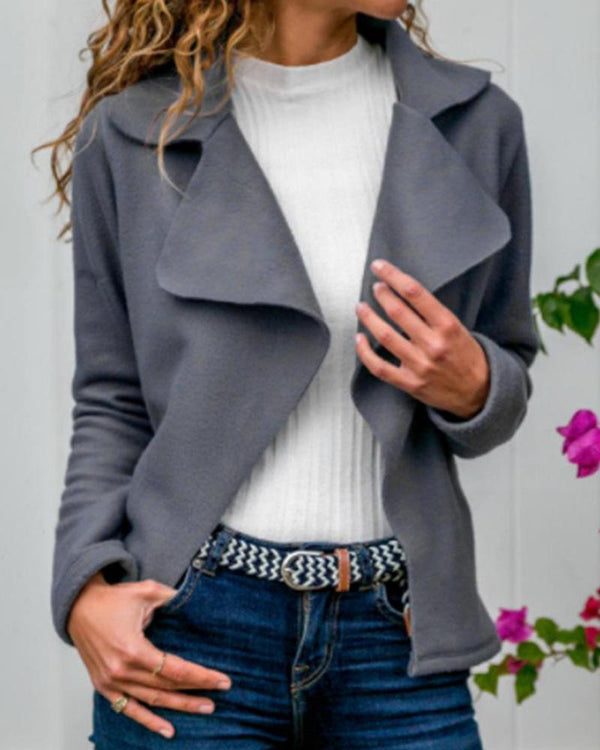 Faux Suede Notch Collar Jacket