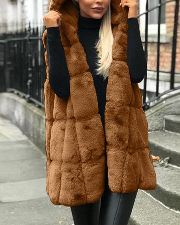 Hooded Marshmallow Faux Fur Coat