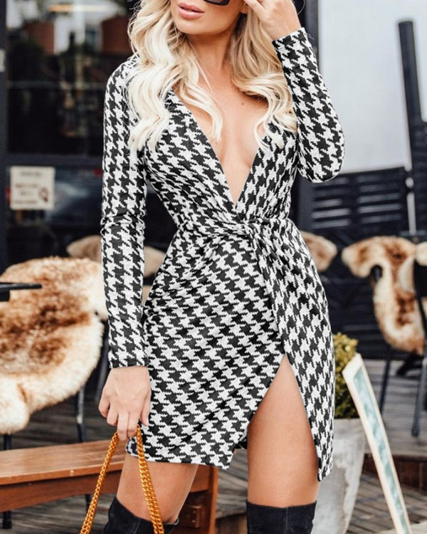 Houndstooth Twisted Surplice Wrap Dress