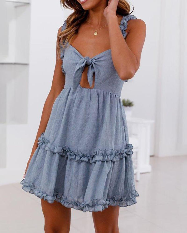 Ruffled Chest Straps Knotted Mini Dress