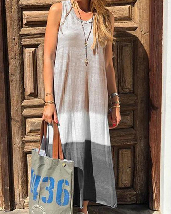 Fashion sleeveless round neck hanging dyed multicolor cotton and linen dress