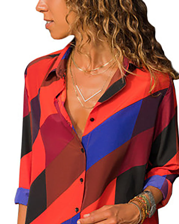 Contrast Color Stripes Long Sleeve Casual Shirt