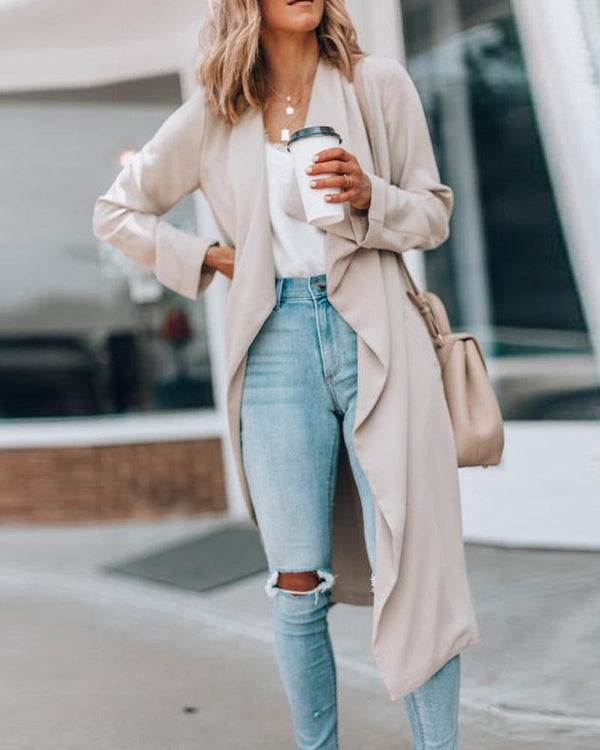 Solid Drape Open Front Coat