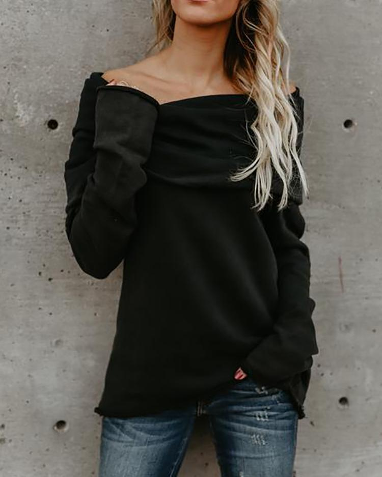 Asymmetric Off Shoulder Long Sleeve Casual Blouse