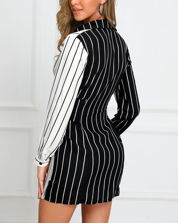 Colorblock Striped Lace-Up Design Shirt Dress