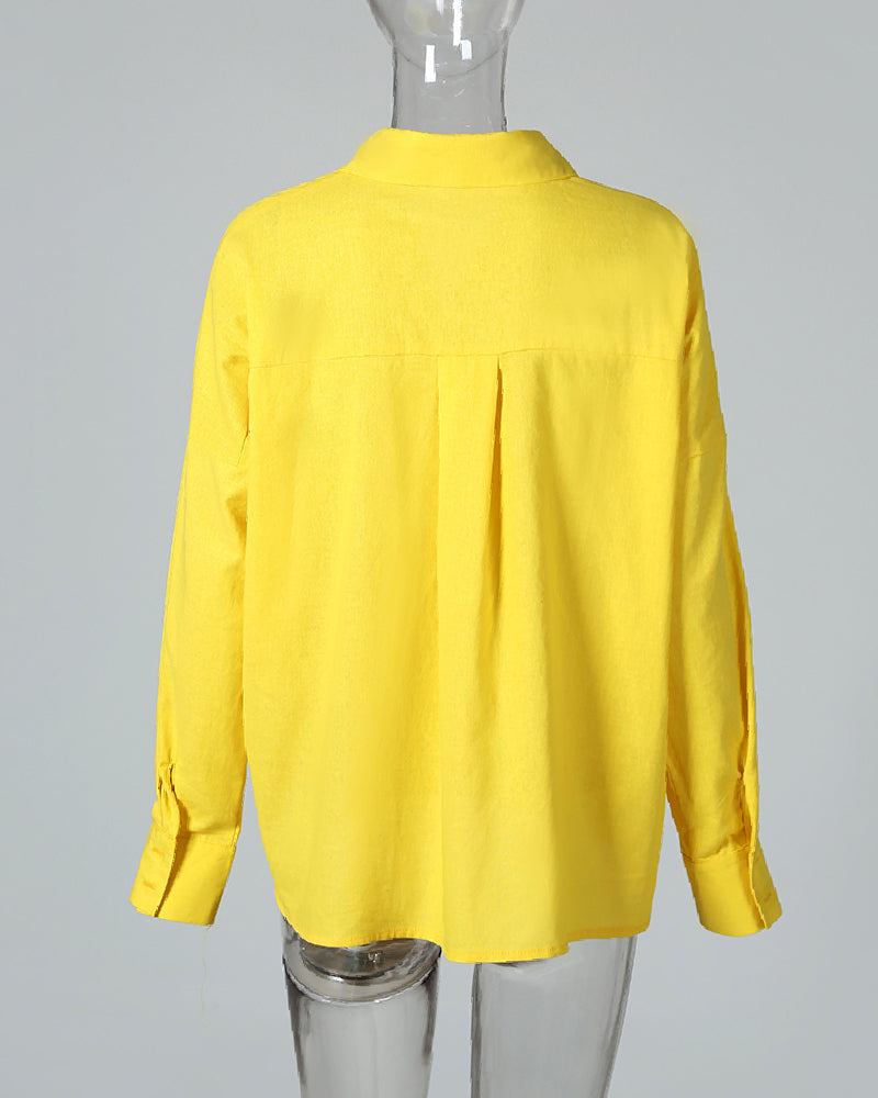 Solid Long Sleeve Casual Loose Blouse