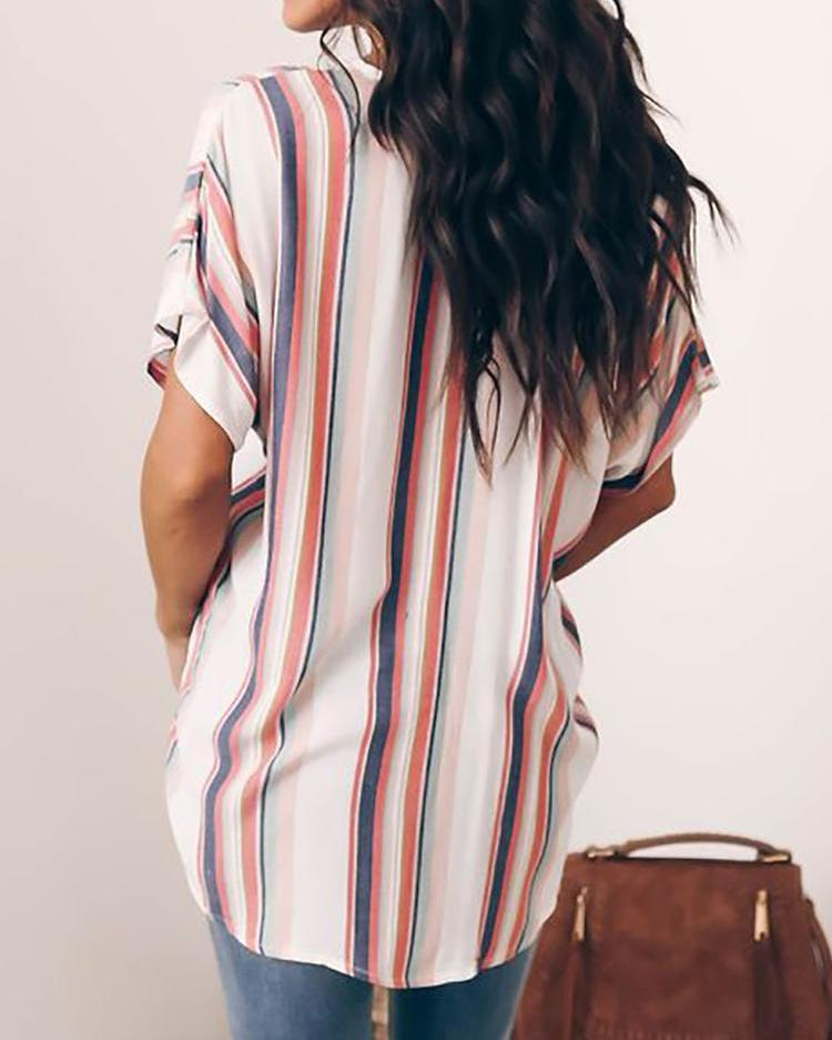 Striped Short Sleeve Twisted Casual Shirt