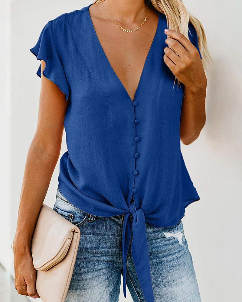 Solid Ruffles Flutter Sleeve Knotted  Blouse
