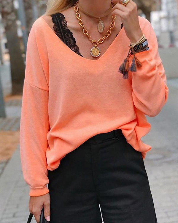 Solid V Neck Long Sleeve Casual Blouse