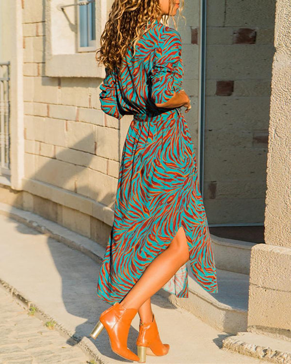 Side Slit Long Sleeve Print Shirt Dress