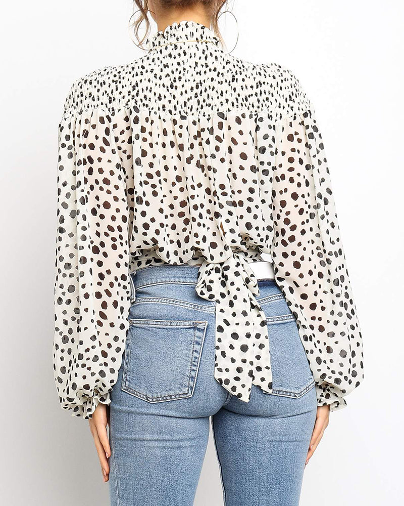 Leopard Print Lantern Sleeve Casual Blouse
