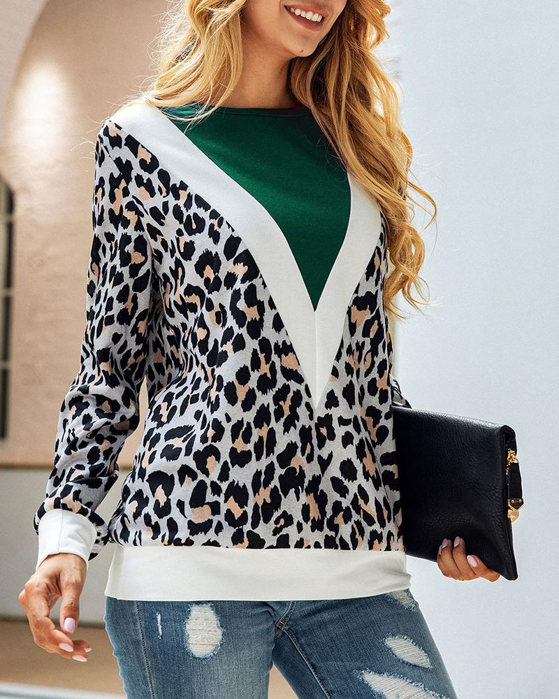 Leopard Patchwork Colorblock Casual Sweatshirt
