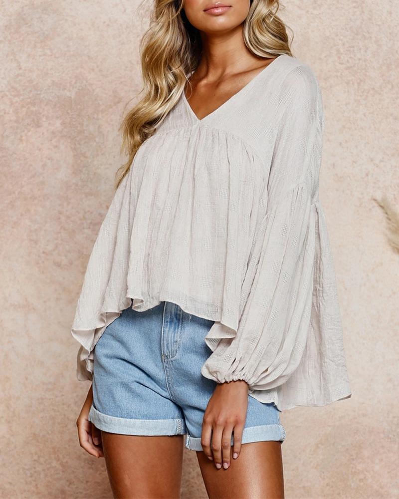 V Neck Lantern Long Sleeve Blouse