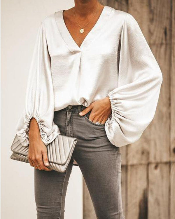 Ballon Sleeve V Neck Loose Shirt