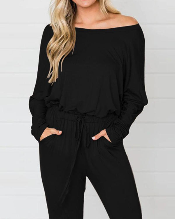 Solid Off The Shoulder Maxi Jumpsuit