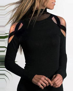 Mesh Stitching Cold Shoulder Bottoming T-Shirt