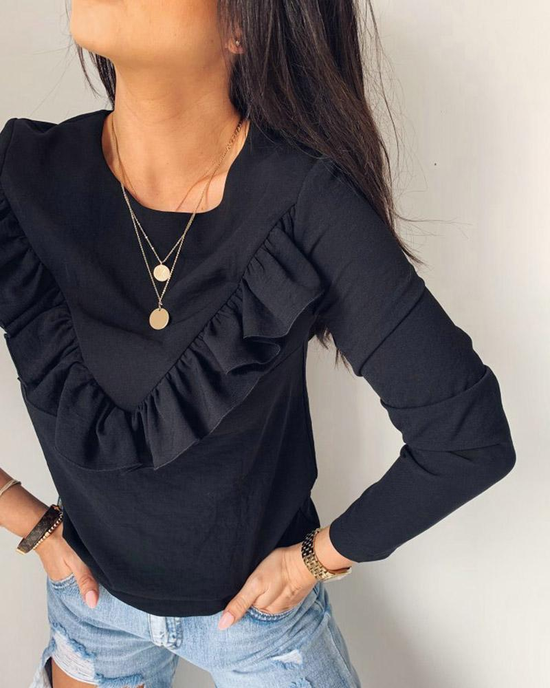Ruffles Design Round Neck Long sleeve Blouse