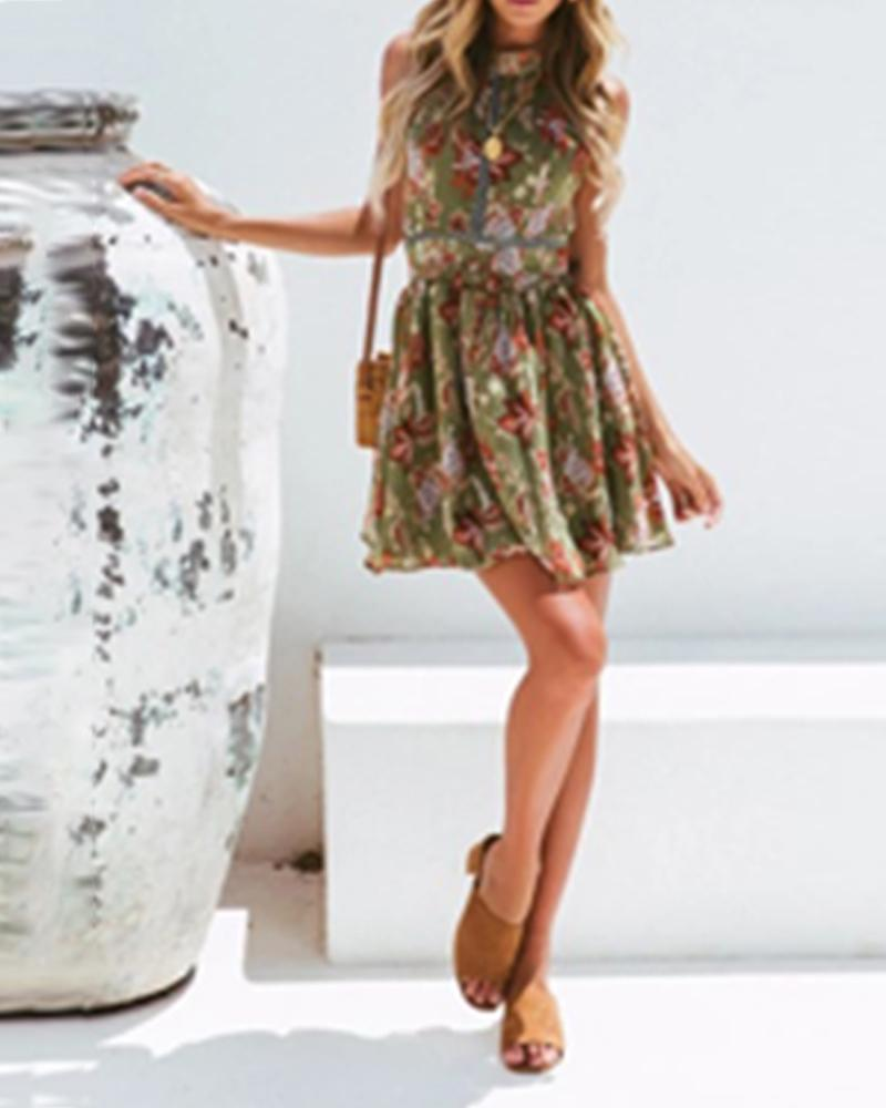Bohemian printed beach skirt female hanging neck backless waist hollow holiday lace floral dress