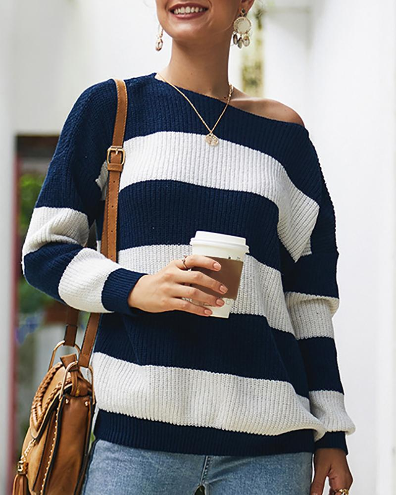 Striped Long Sleeve Knitting Sweater