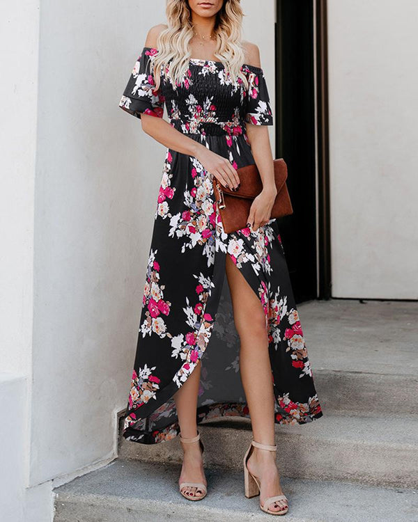 Off Shoulder High Waist Split Print Dress