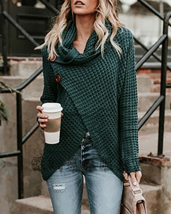 Solid Long Sleeve Asymmetrical Hem Buttoned Sweater