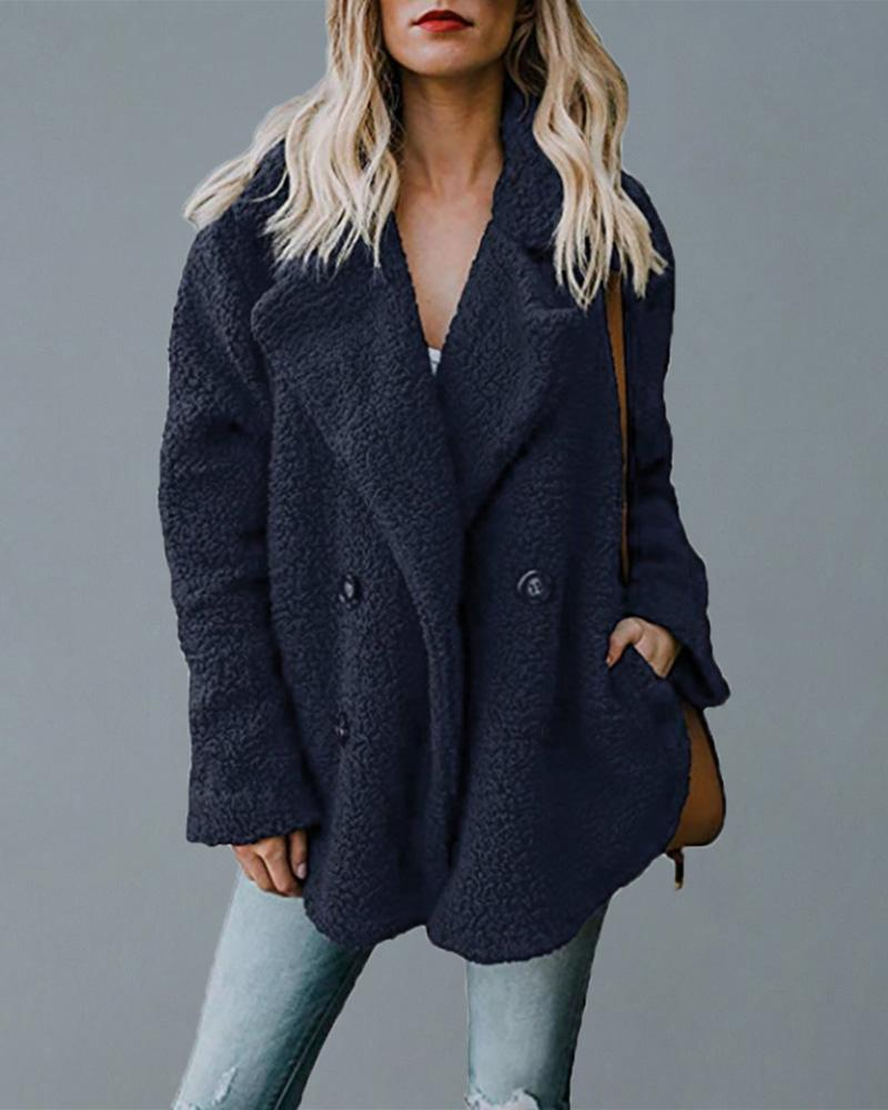 Waterfall Collar Double-breasted Fluffy Coat