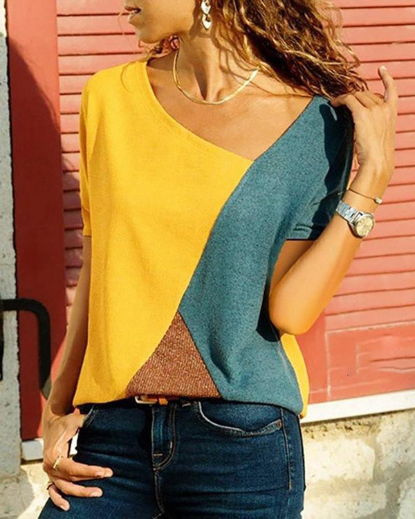 Round neck color block short-sleeved T-shirt