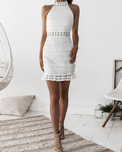 Halter Crochet Lace Ruffle Hem Mini Dress