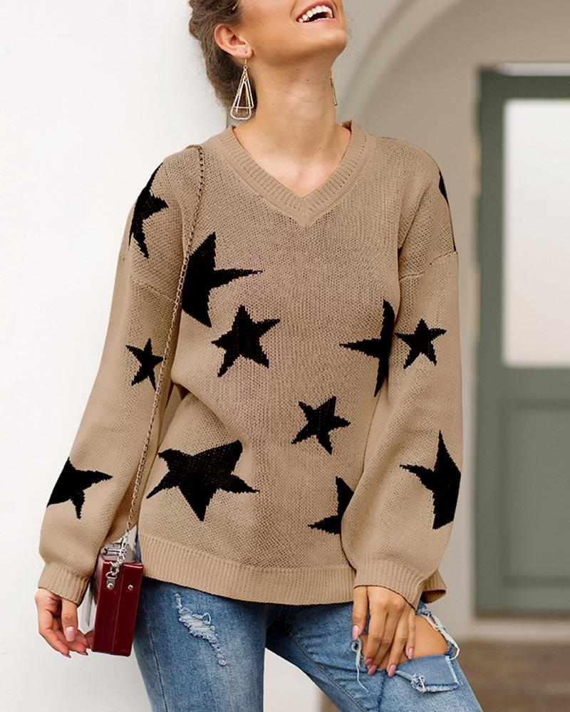 Star Pattern Slit Detail Casual Sweater