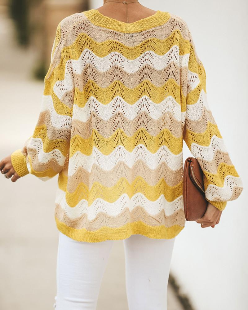 Yellow Striped Knit Pullover