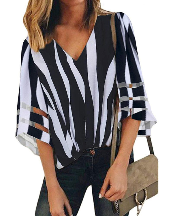 Striped V-Neck Bell Sleeve Casual Blouse