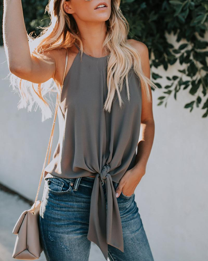 Suspended neck front strapless sleeveless solid chiffon shirt