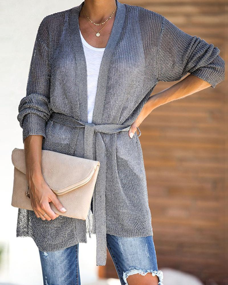 Women Long Sleeve Spring Autumn Gray Coat