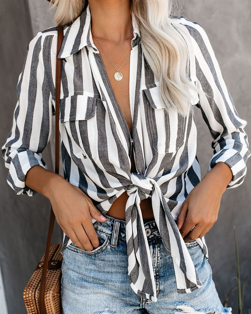 Striped Knotted Detail Pocket Blouse
