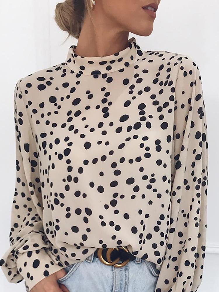 Mock Neck Lantern Sleeve Dots Blouse