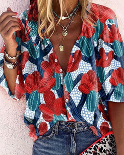 Floral v neck half sleeve women blouse shirt top