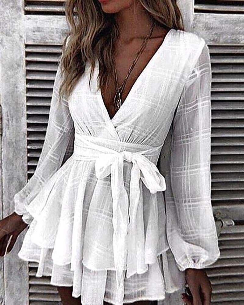 Grid Tight Waist Layered Ruffles Dress