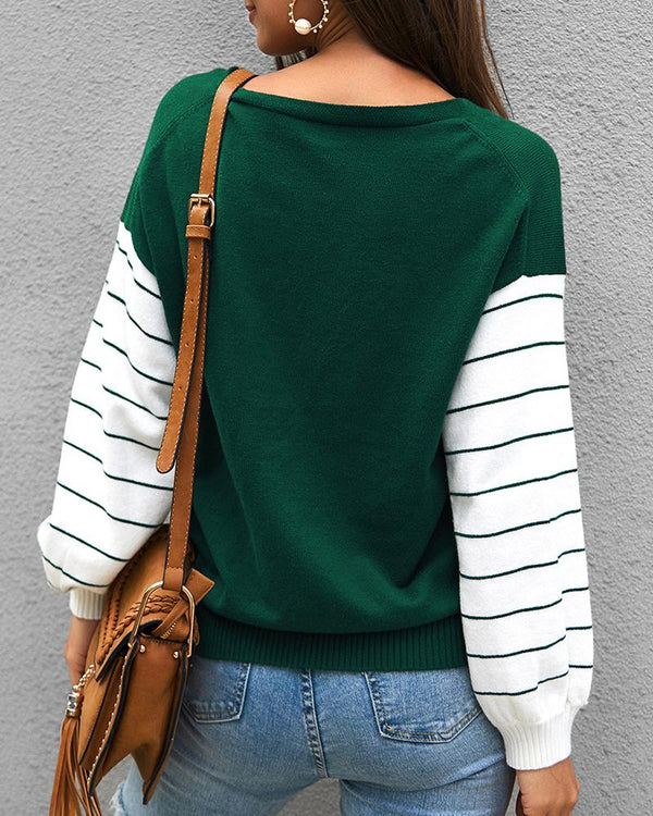 Colorblock Long Striped Sleeve Knitting Sweater