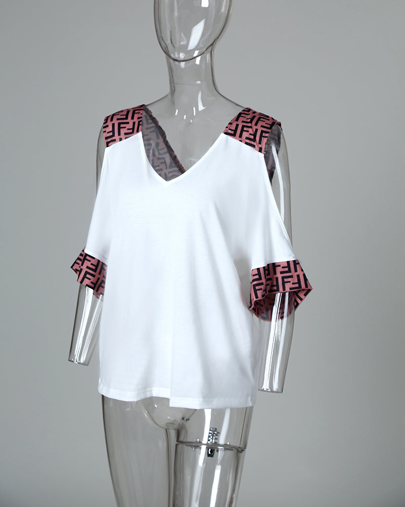 F-Inspired Print Insert Cold Shoulder T-Shirt