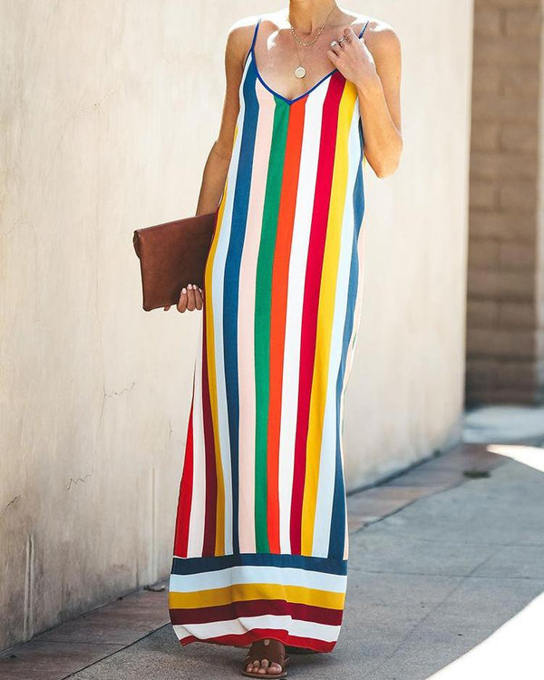 Summer Rainbow Striped Sleeveless Dress